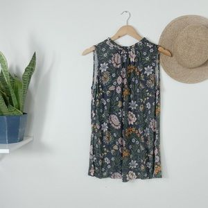 LOFT Outlet Grey Floral Sleeveless Tie Neck Tee